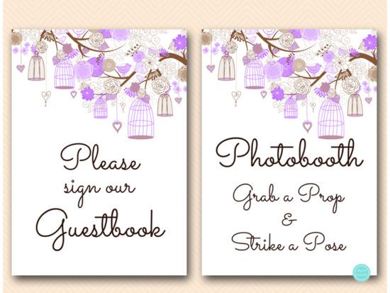 purple-wedding-love-bird-cage-bridal-showerdecoration-signs