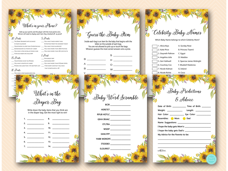 summer sunflower baby shower games and activities download