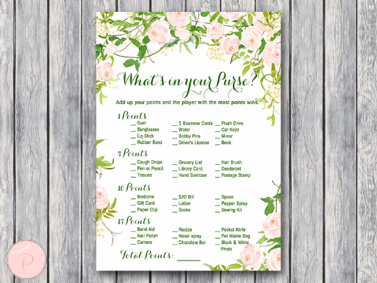 garden-whats-in-your-purse-bridal-shower-game