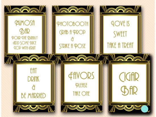 gatsby-roaring-twenties-bridal-shower-table-signs