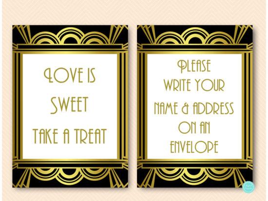 gatsby-roaring-twenties-bridal-shower-table-signs-art-deco-wedding