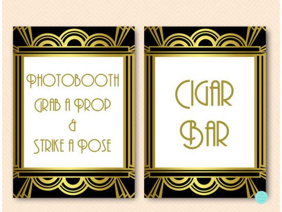gatsby-roaring-twenties-bridal-shower-table-signs1