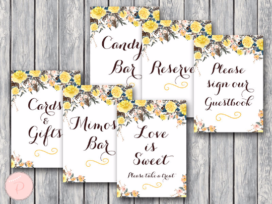 photo regarding Printable Bridal Shower Signs named Floral Yellow Desk Decor Indicators Deal