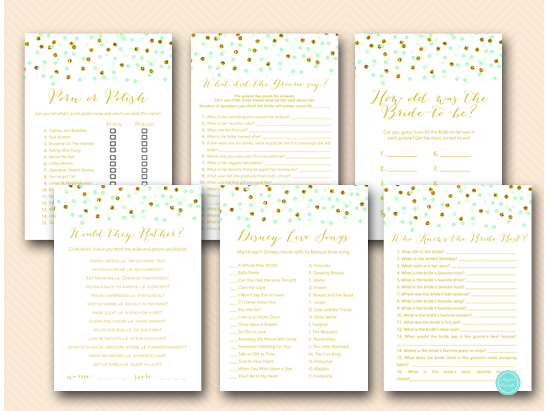 graphic relating to Bridal Shower Printable Games identified as Mint and Gold Confetti Bridal Shower Video games