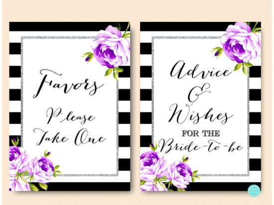 purple-silver-bridal-shower-signs-purple-floral