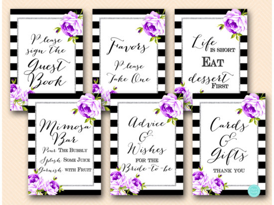 purple-silver-bridal-shower-signs-purple-floral-silver-glitter