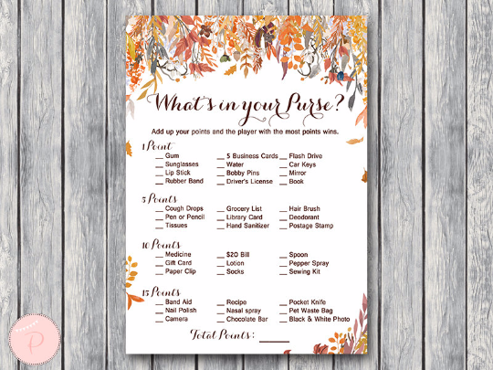 autumn-fall-whats-in-your-purse-bridal-shower-game