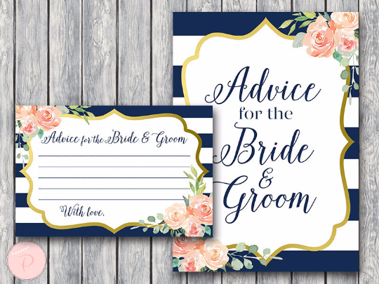 boho-navy-gold-advice-for-the-bride-and-groom-card-sign