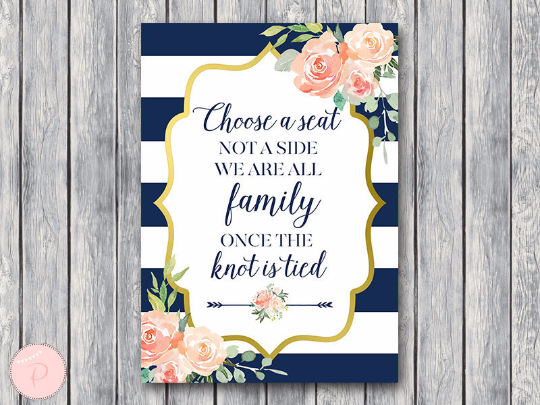 boho-navy-gold-choose-a-seat-not-a-side-sign-nvy
