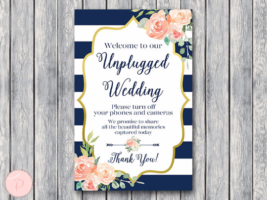 boho-navy-gold-unplugged-wedding-sign-nvy
