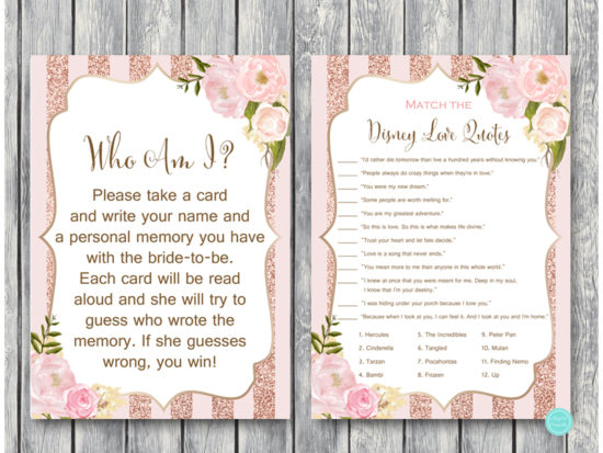 rose-gold-floral-bridal-shower-games-who-am-i-disney-love-quote