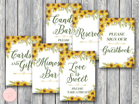 sunflower-summer-bridal-shower-table-signs-package