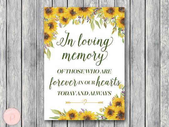 sunflower-summer-in-loving-memory-wedding-sign