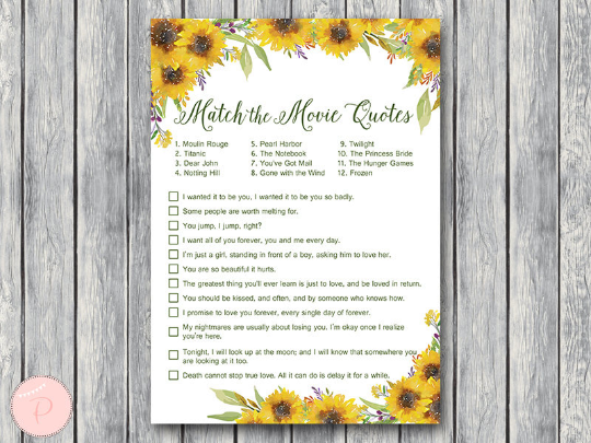 Sunflower Bridal Shower Games Pack Printabell Express