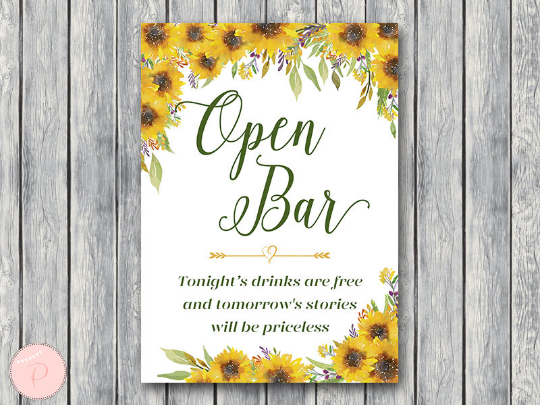 sunflower-summer-open-bar-sign-drinks-are-free