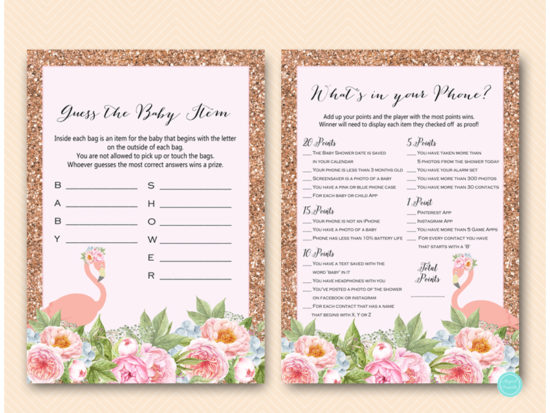 pink-rose-gold-flamingo-baby-shower-game-package-phone-guess-items