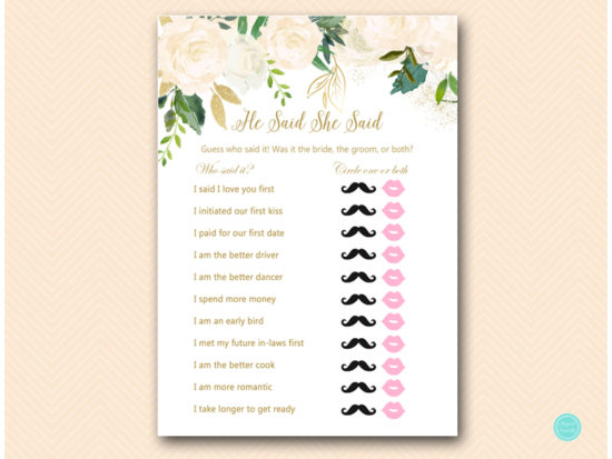 This is an image of Would She Rather Bridal Shower Game Free Printable with invitations bridal