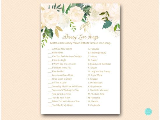 bs530b disney love songs match bluff floral bridal