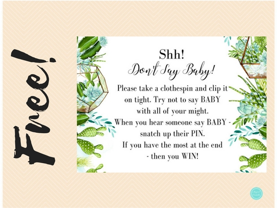 photograph relating to Free Don't Say Baby Printable named Free of charge Succulent Boy or girl Pin Sport Printabell Categorical