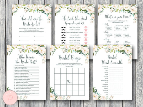 white-floral-garden-bridal-shower-games-package