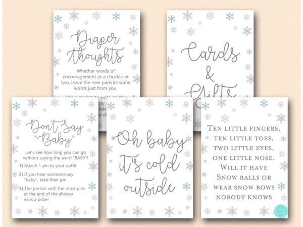 c03782e4e080d Silver Snowflake baby shower games and signs