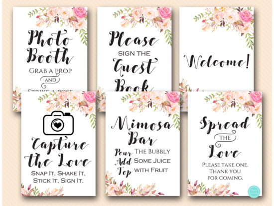 boho-floral-bridal-shower-wedding-decoration-signages