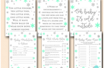 mint-silver-snowflakes-baby-shower-baby-baby-games-and-signs