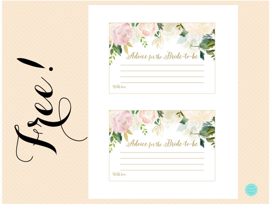 This is an image of Refreshing Free Printable Bridal Shower Advice Cards