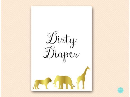 tlc452-dirty-diaper-sign-gold-jungle-baby-shower-games