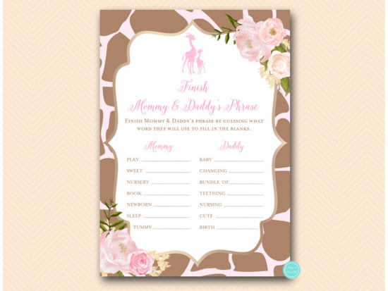 tlc563-finish-daddy-and-mommys-phrase-pink-giraffe-baby-shower-games