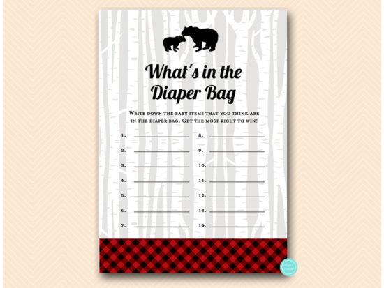 tlc564-whats-in-diaper-bag-lumberjack-baby-shower-games