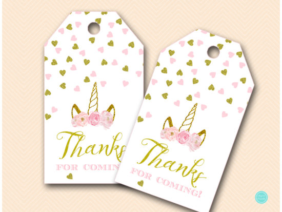 Pink and Gold Unicorn Baby Shower Signs
