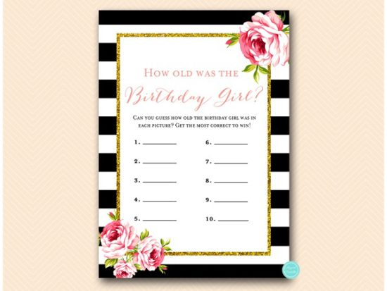 black stripes and gold glitter birthday party games package