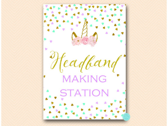 tlc556m-sign-headband-making-station-aqua-purple-unicorn-baby-shower-game