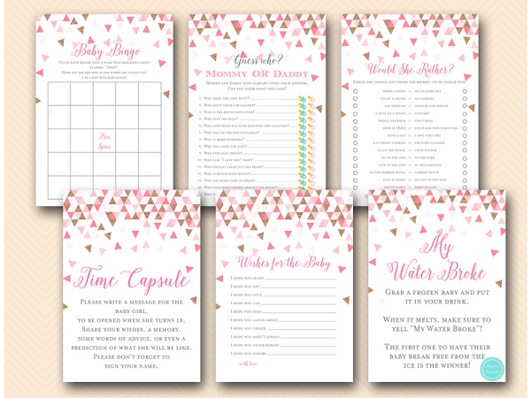 Pink Rose Gold Geometric Baby Shower Game Printable