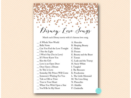 graphic about Guess the Disney Movie Song Printable titled Rose Gold Bridal Shower Game titles
