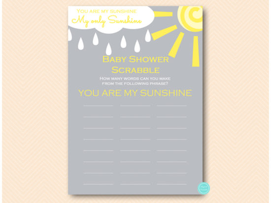 You Are My Sunshine Baby Shower Game Pack Printabell Express