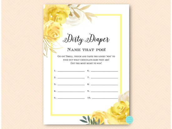 tlc574-dirty-diaper-yellow-floral-baby-shower-game-gender-neutral