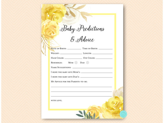 tlc574-prediction-and-advicea-yellow-floral-baby-shower-game-gender-neutral