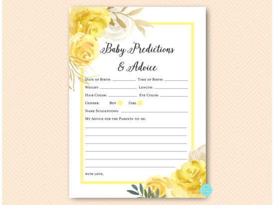 tlc574-prediction-and-adviceb-yellow-floral-baby-shower-game-gender-neutral