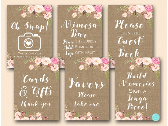 boho-flower-burlap-bridal-shower-table-signs-snapchat-mimosa-guestbook