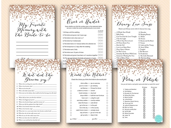 rose gold bridal shower games