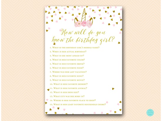 pink and gold unicorn birthday party game printabell express