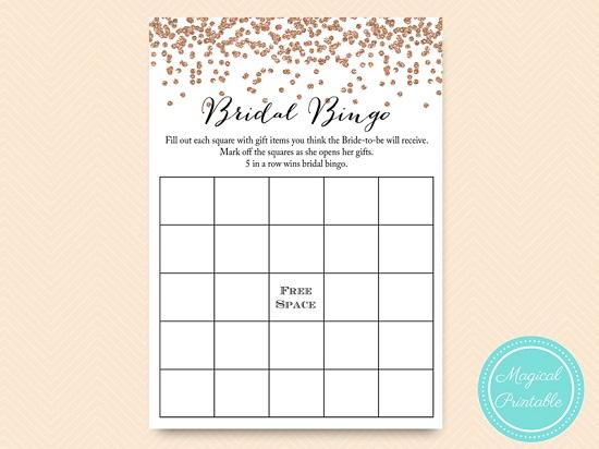 graphic regarding Bridal Bingo Printable called Rose Gold Bridal Shower Bingo Bachelorette Sport
