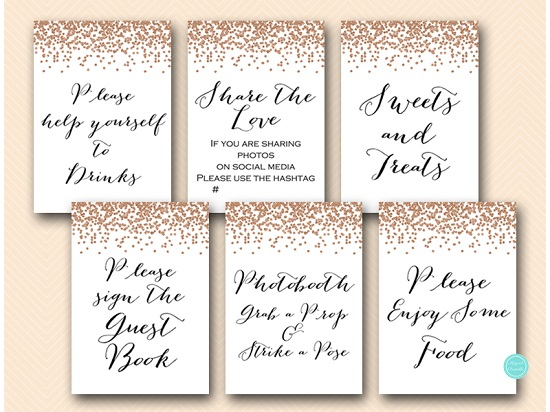 Rose Gold Party Table Signs Printabell Express