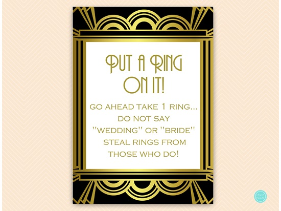 art deco gatsby bridal shower put a ring on it game