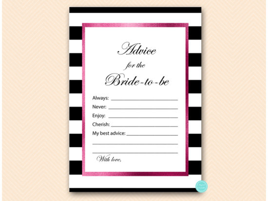 bs500-advice-for-bride-card-hot-pink-and-black-stripes-baby-shower-bachelorette