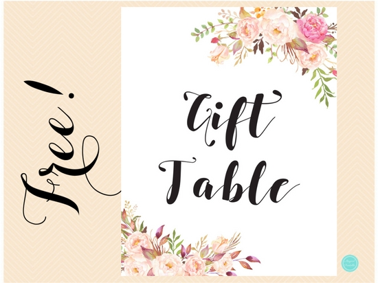 Free Boho Gift Table Sign Printabell Express
