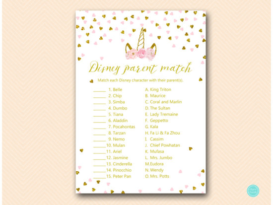 tlc556-disney-parent-match-pink-gold-unicorn-baby-shower-game