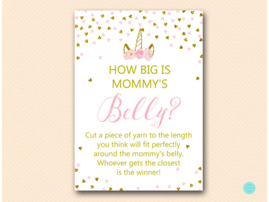 tlc556-how-big-is-mommys-belly-pink-gold-unicorn-baby-shower-game